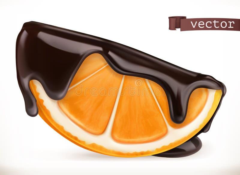 Orange in der Schokolade Ikone des Vektor 3d lizenzfreie abbildung