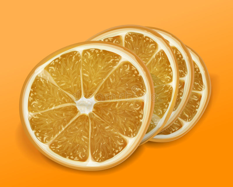 Orange des tranches sur le fond orange et jaune Vecto illustration de vecteur