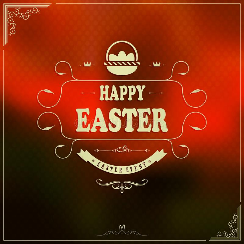 Orange design with happy Easter text, postcard royalty free illustration