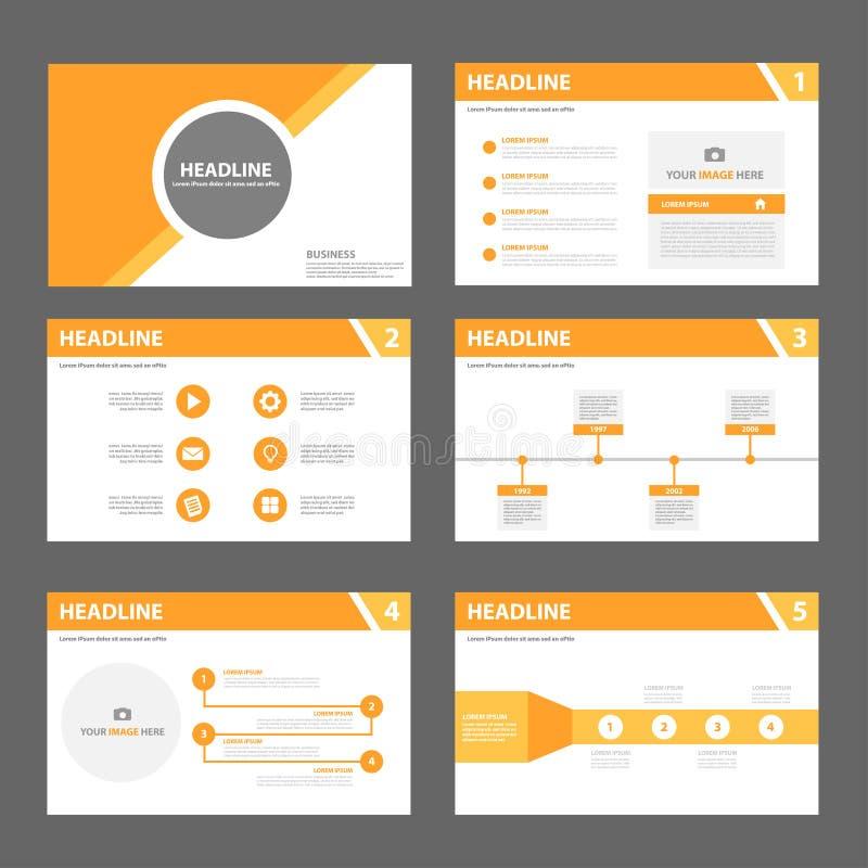 Orange design som kan användas till mycket för lägenhet för mall för broschyrreklambladbroschyr royaltyfri illustrationer
