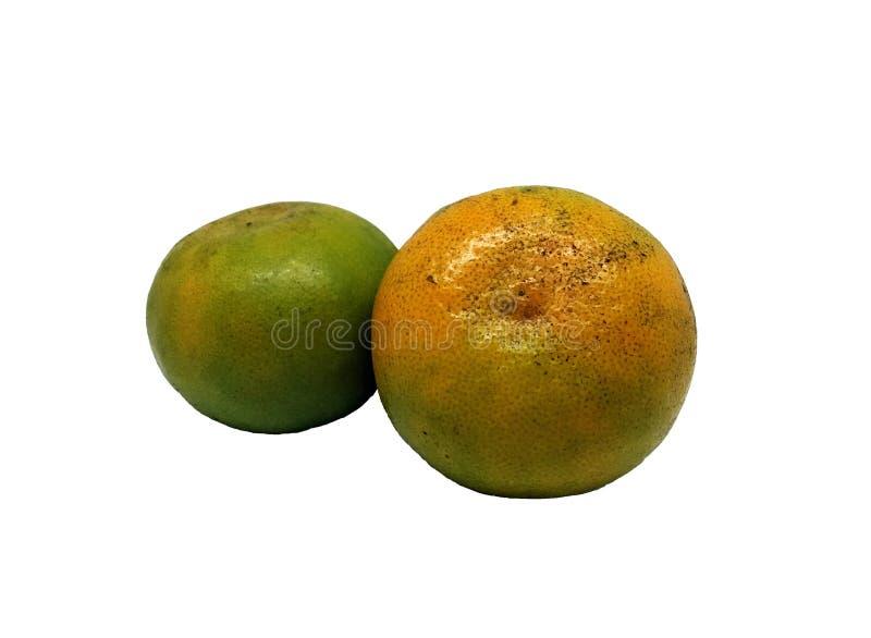 Orange deux d'isolement sur le fond blanc images stock