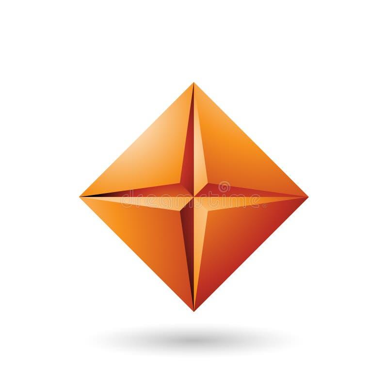 Orange Diamond Icon with a Star Shape Vector Illustration stock illustration