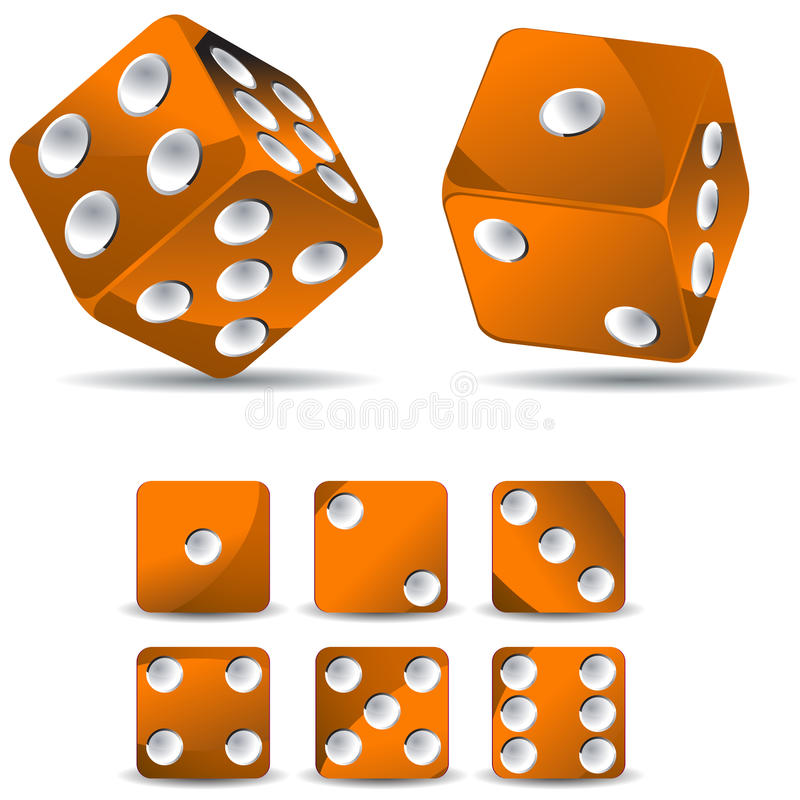 Download Orange dices stock vector. Illustration of leisure, number - 20549277