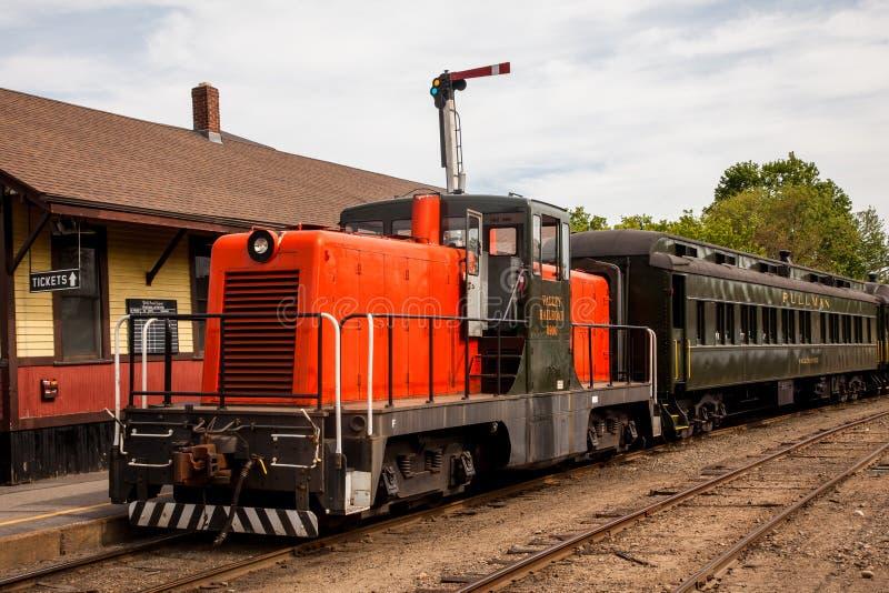 Orange diesel train locomotive stock photos