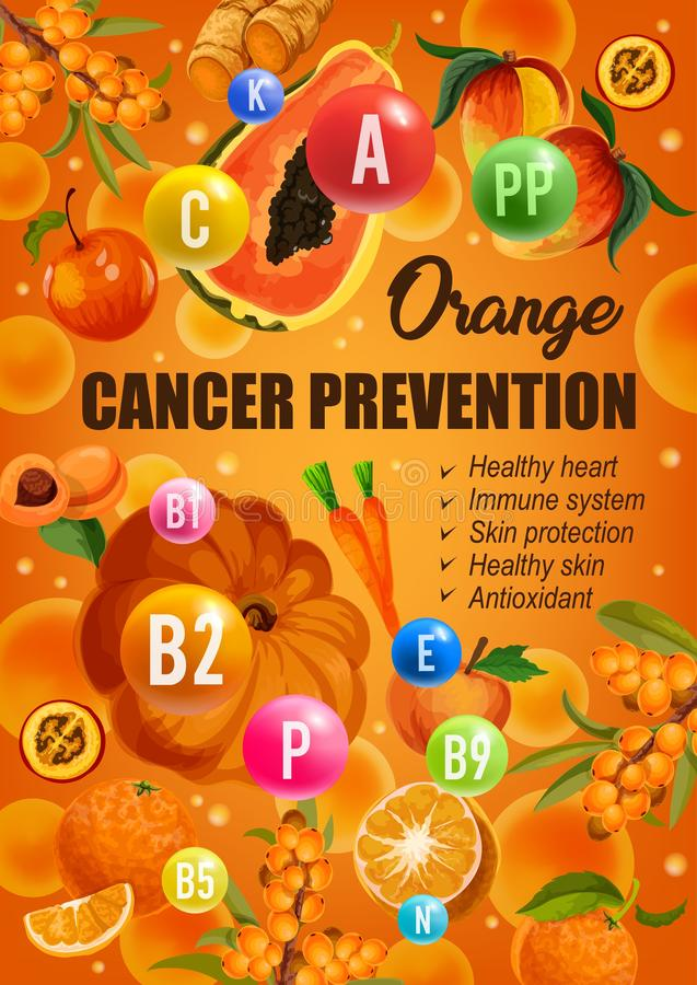 Orange diet cancer prevention food nutrition. Orange color diet for cancer prevention, healthy hear and skin or immune system protection. Vector diet nutrition vector illustration