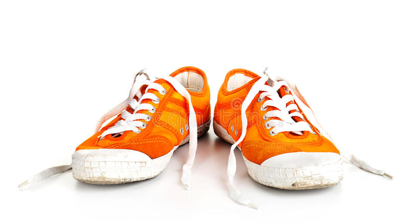 Download Orange Dirty Shoes Isolated Stock Photo - Image of lace, grey: 26966576