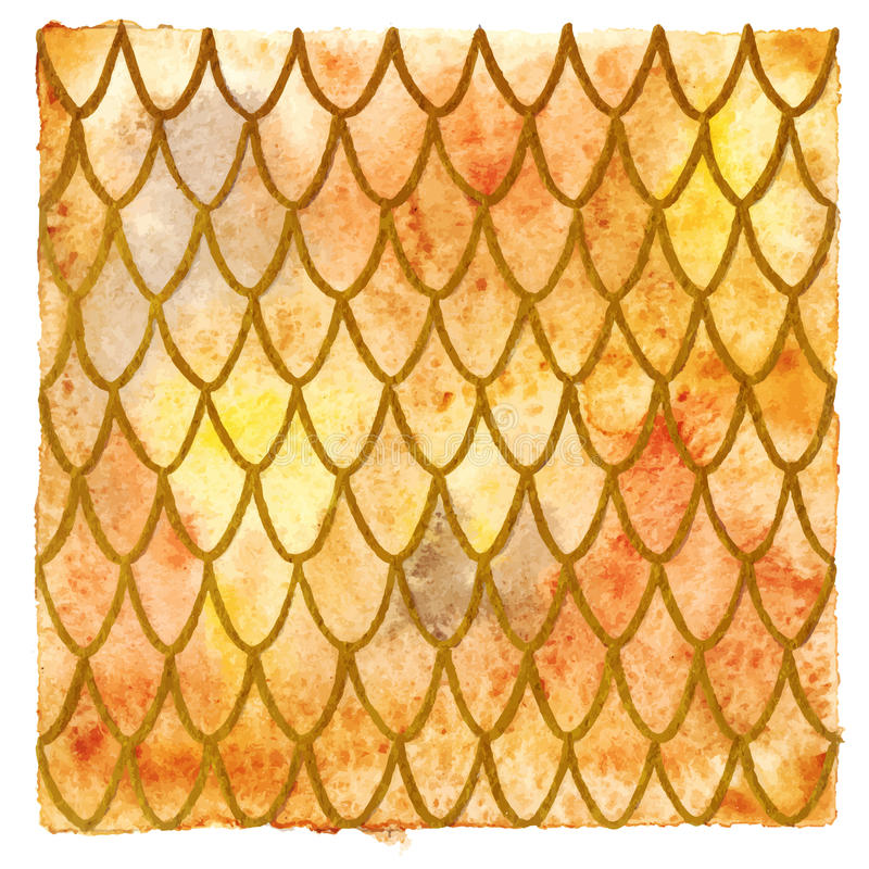 Dragon skin scales yellow orange gold vector pattern texture background.  royalty free illustration