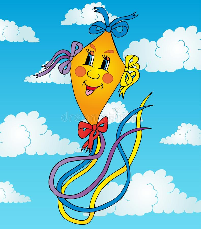 Download Orange drake på skyen vektor illustrationer. Illustration av spelrum - 27288002