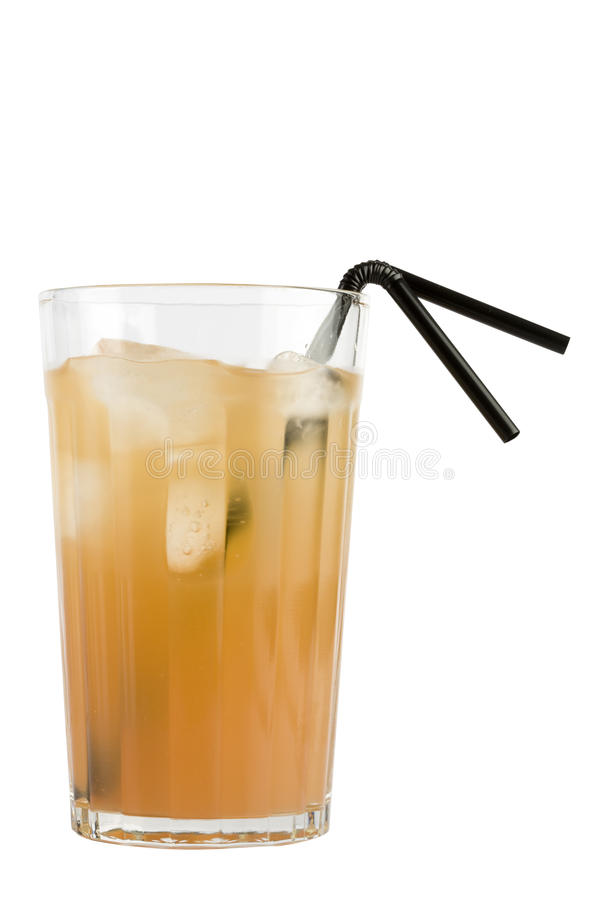 Orange drink. With two straws isolated on white background royalty free stock photo