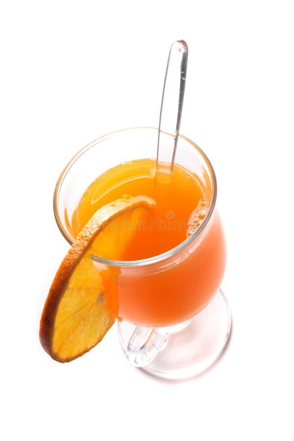 Orange drink. Fresh orange drink on the white background royalty free stock photos