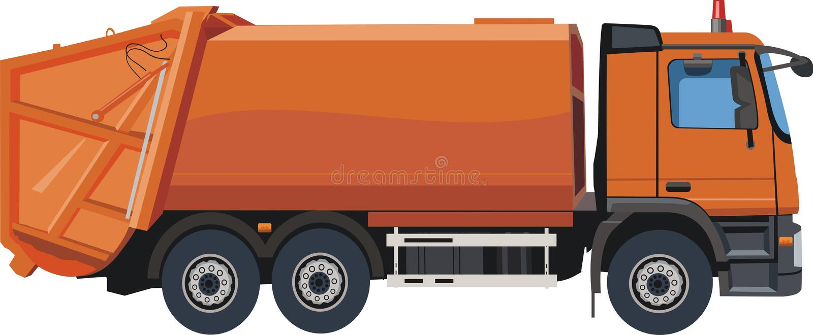 Download Orange dump truck stock vector. Illustration of rear - 26592628