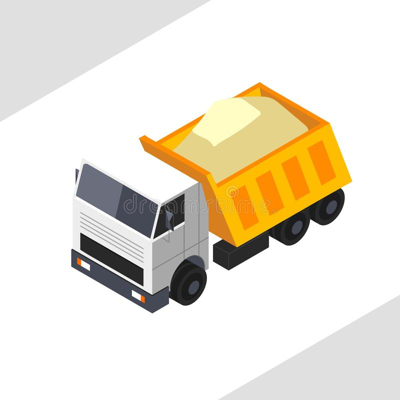 Free Orange Dump Truck Carries Sand. Vector Isometric Projection . Royalty Free Stock Image - 135284656