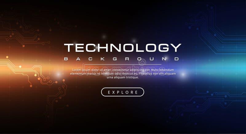 Orange dunkelblaues Hintergrundkonzept der Technologiefahne mit Lichteffekten lizenzfreie abbildung