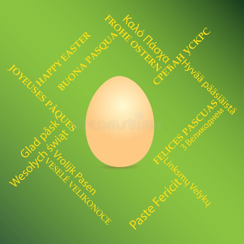 Orange egg on green background and happy easter on different languages - vector card with greetings stock illustration