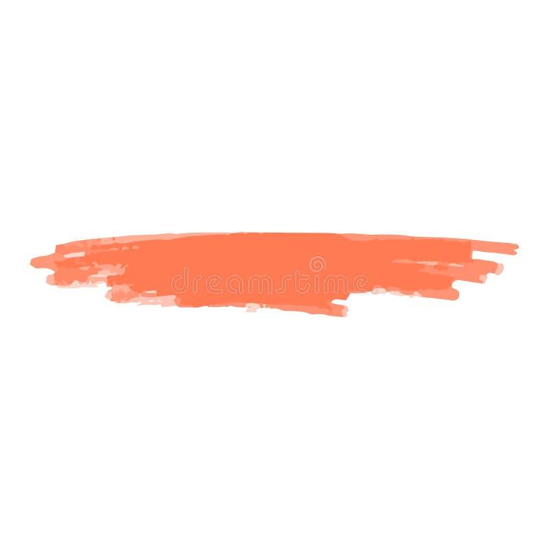 Orange eller korallfärgmarkör att klottra linjen eller befläcka realistisk stil royaltyfri illustrationer