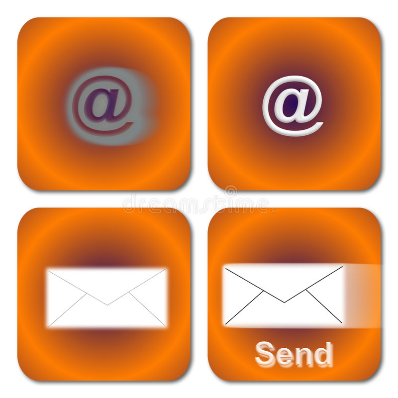 Orange Email Buttons Royalty Free Stock Photography