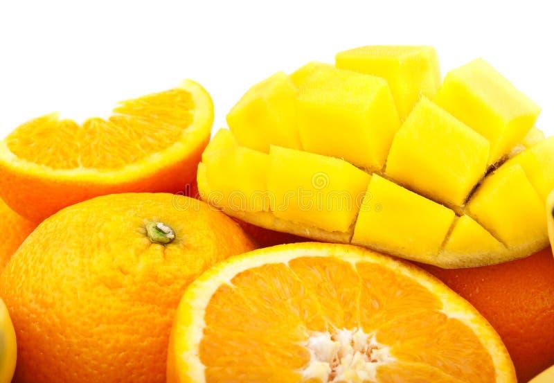 Orange et mangue fraîches images stock