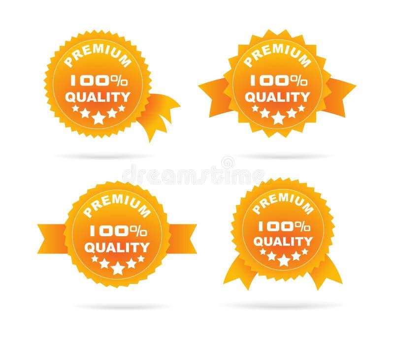 Orange etikett för Guarantee stock illustrationer