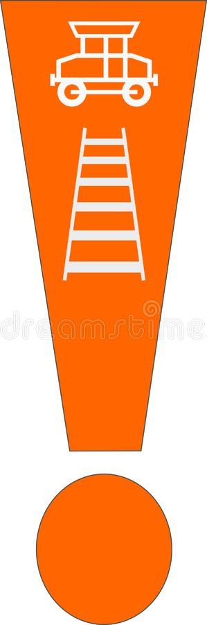 Exclamation mark with train vector illustration
