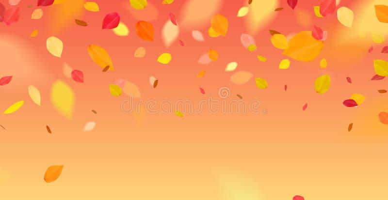 Orange färgade blad med fallande verkan vektor illustrationer