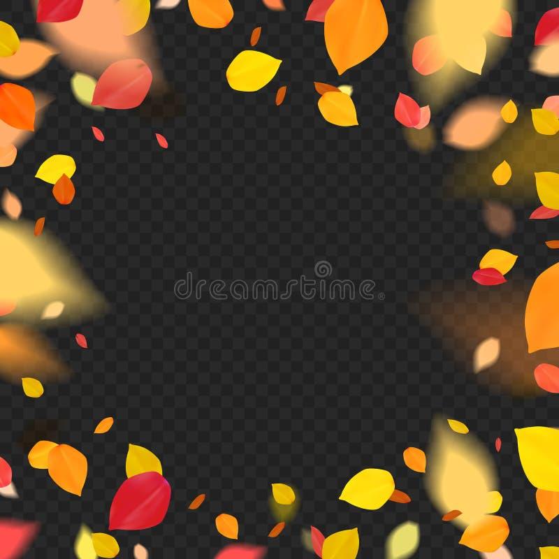Orange färgade blad med fallande verkan stock illustrationer