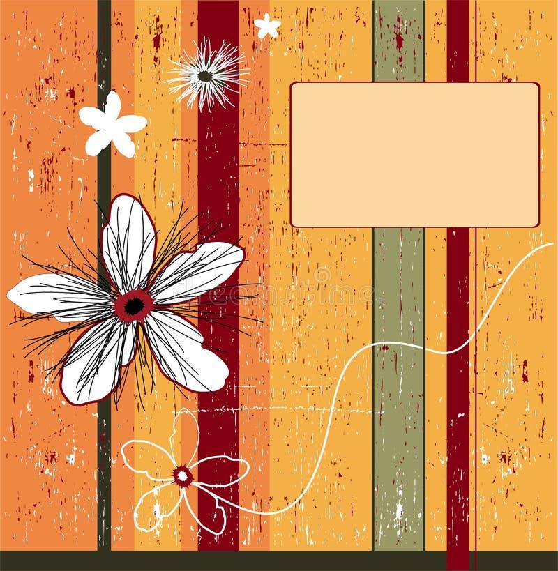 orange för bakgrundsblommagrunge stock illustrationer