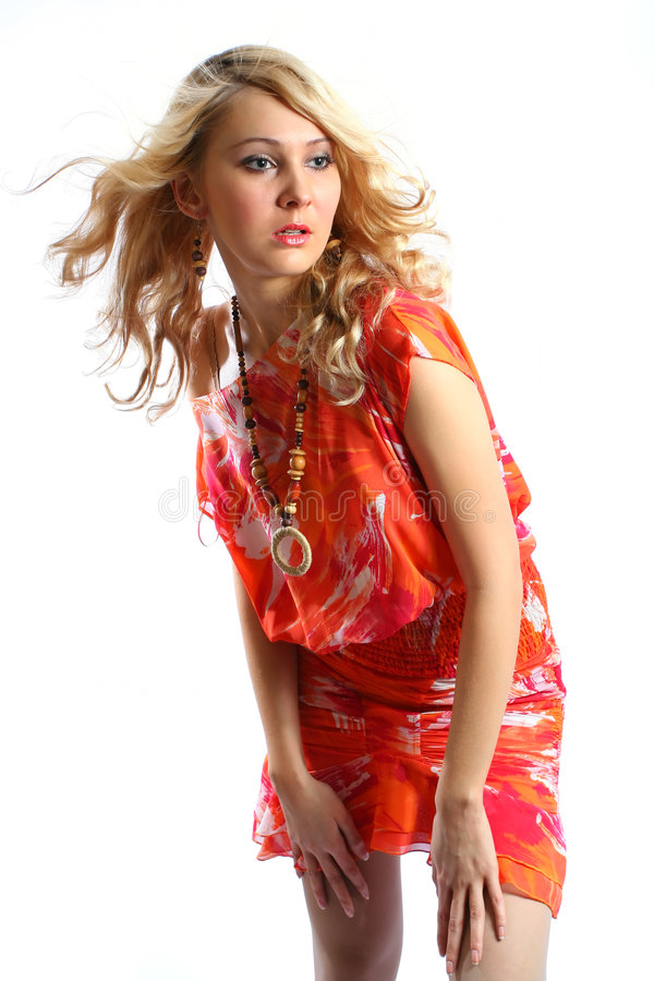 orange för skönhetklänningflicka royaltyfri bild