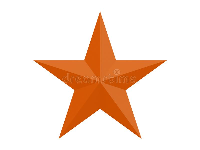 Orange facettierte Stern mit 10 Seiten, die auf einer weißen Wiedergabe des Hintergrundes 3d lokalisiert wurden vektor abbildung