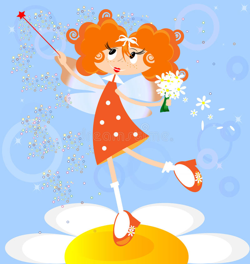 Orange fairy. On a blue background red-haired girl fairy in a orange dress royalty free illustration