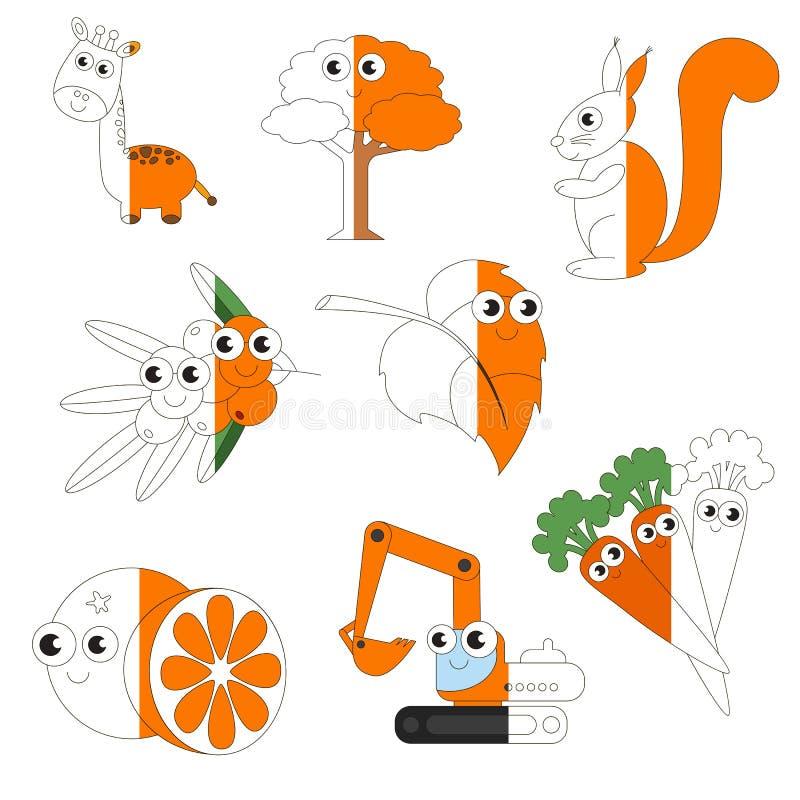 Orange Farbbilder, das große durch Beispiel halb gefärbt zu werden Kinderspiel, lizenzfreie abbildung