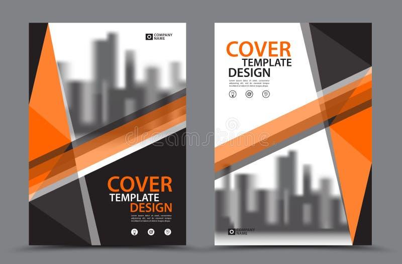 Orange Farbschema mit Stadt-Hintergrund-Geschäfts-Bucheinband-Design-Schablone in A4 Broschürenfliegerplan Jahresbericht lizenzfreie abbildung
