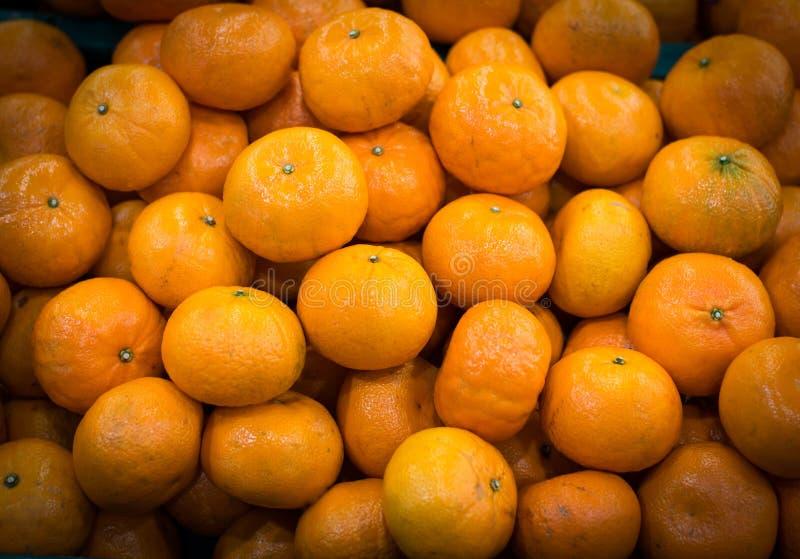 Orange on a farm stand stock photo