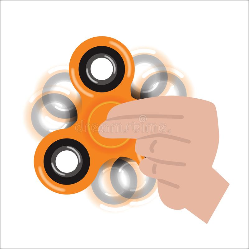Orange fidget spinner. Vector illustration stock illustration