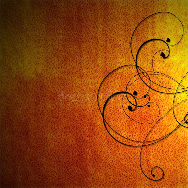 Download Orange Fiery Background With Black Scrollwork Royalty Free Stock Images - Image: 14003699