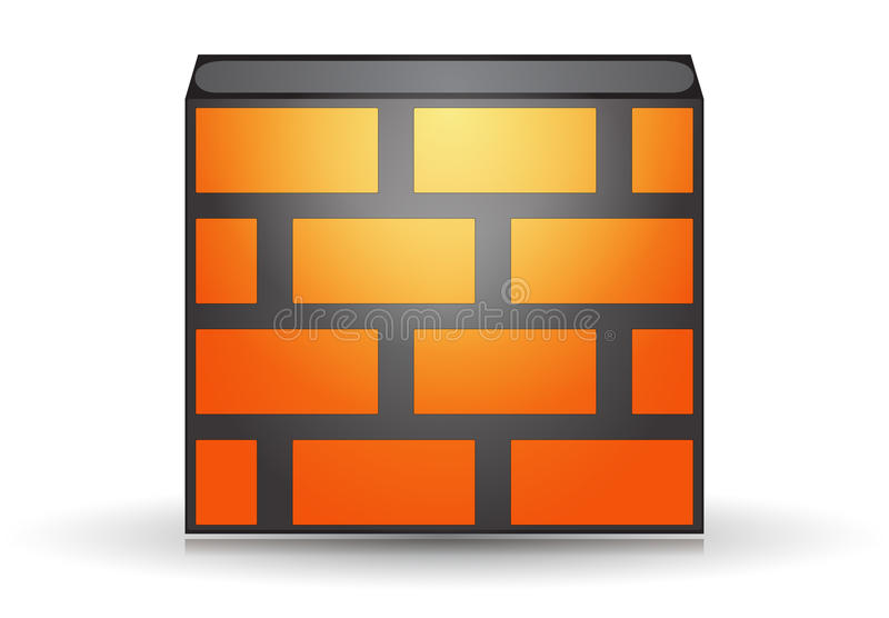 Orange firewall stock illustration