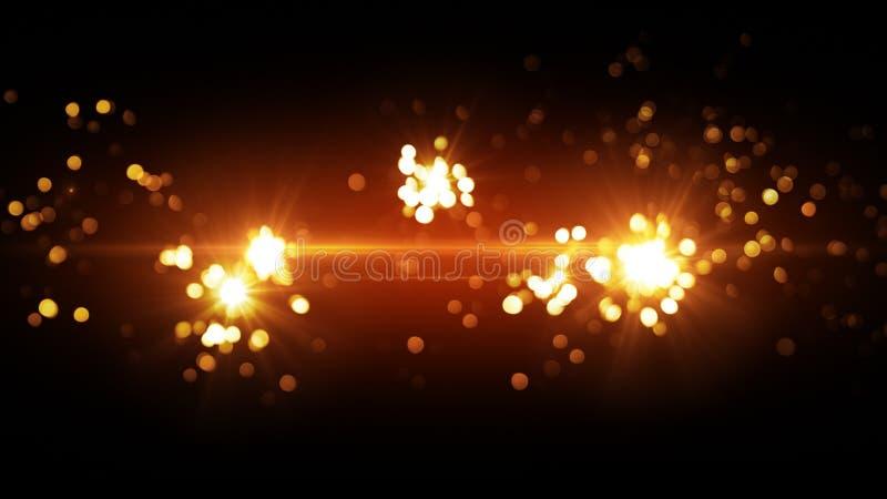 Orange fireworks beautiful bokeh vector illustration