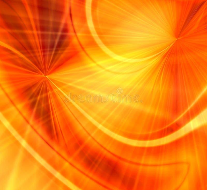 Orange Fireworks Blast. Bright and vivid orange and yellow burst of wavy rays like the sun or spectacular fireworks stock illustration