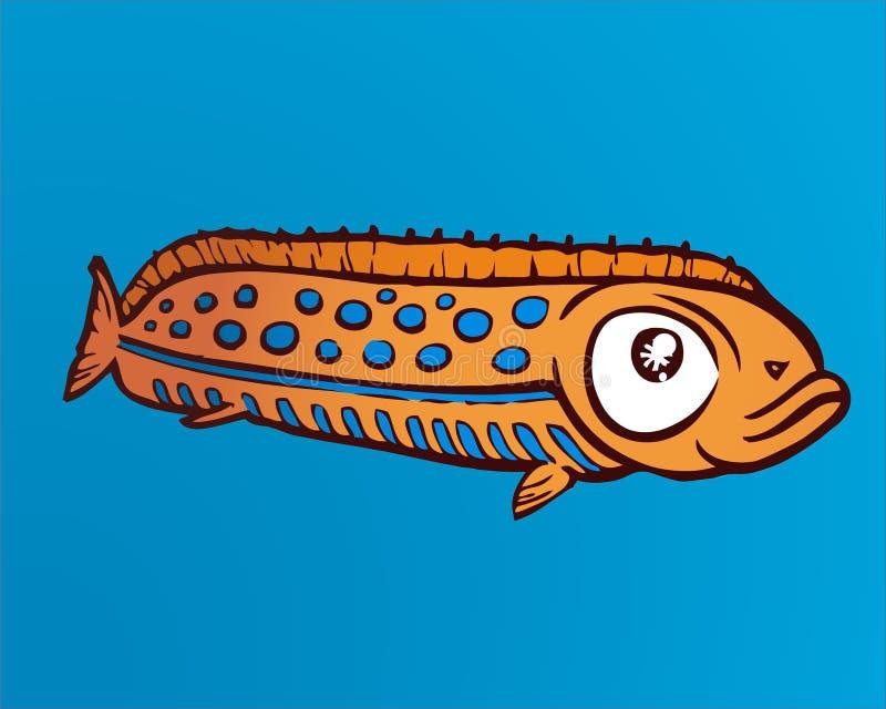 Orange fisk på en havsblåttbakgrund stock illustrationer
