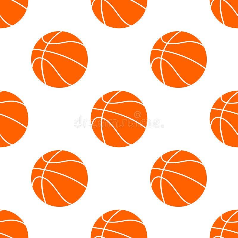 Orange flacher Basketballball, Vektorillustration lokalisiert auf weißem Hintergrund Nahtloses Muster lizenzfreie abbildung