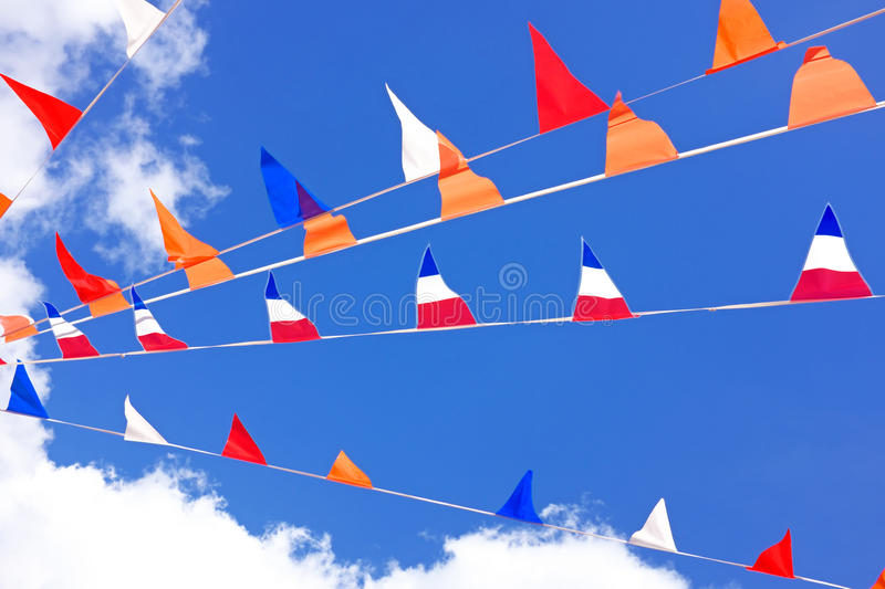 Orange flags, celebrating kings day in Netherlands royalty free stock images
