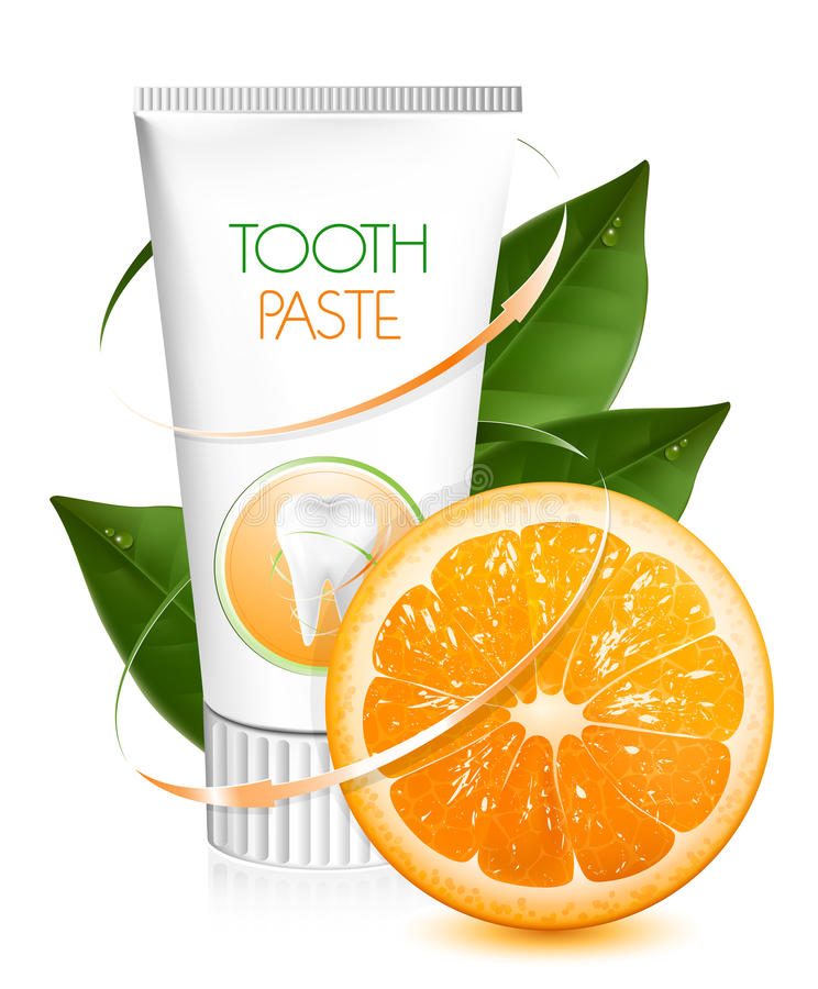 Orange Flavor Toothpaste. Royalty Free Stock Image