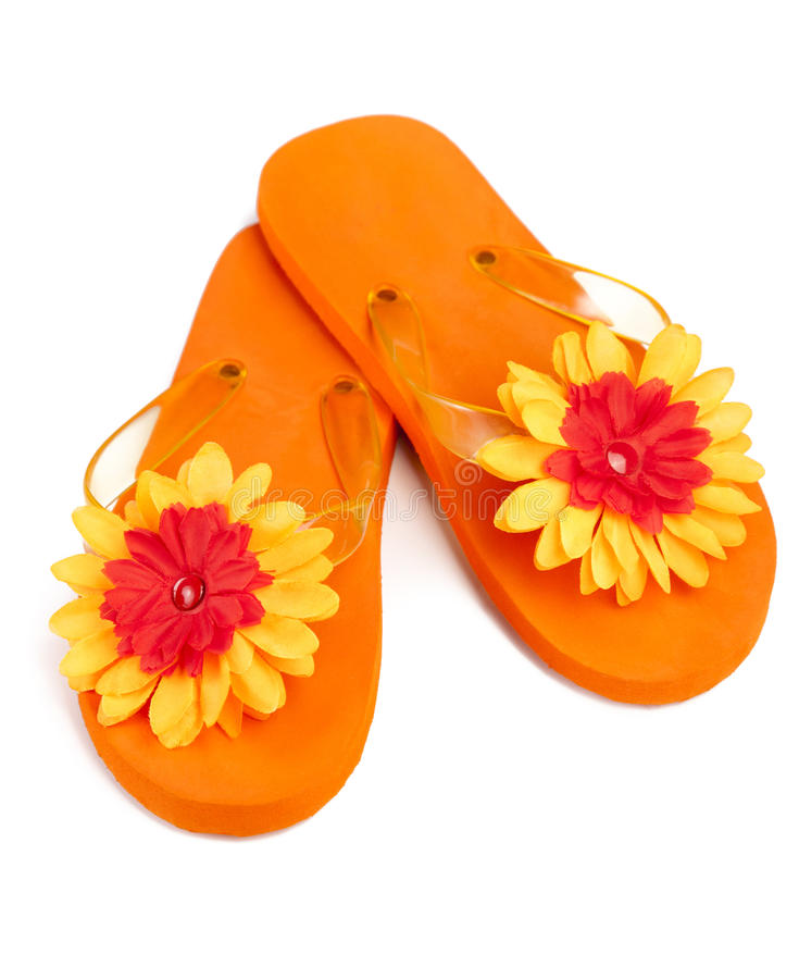 Download Orange Flip-flops With Flowers Stock Image - Image: 18893965