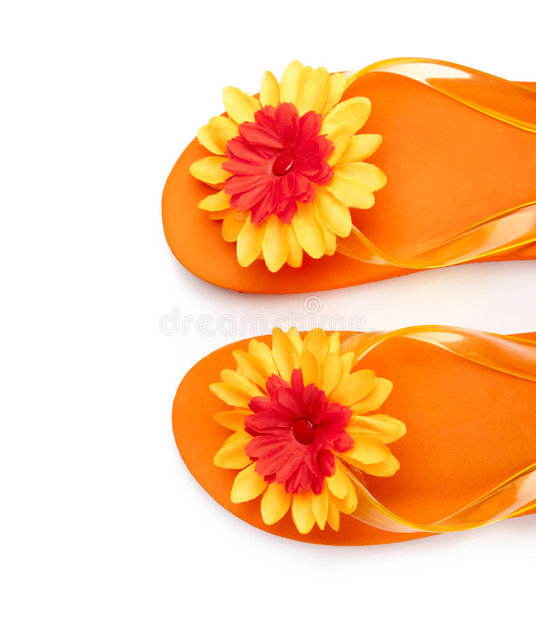 Download Orange Flip-flops With Flowers Stock Image - Image: 19031535