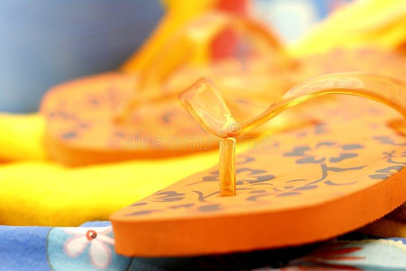 Orange Flipflops stockbilder