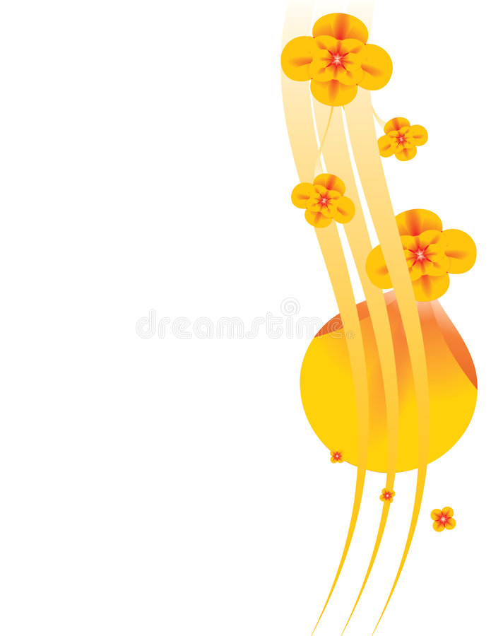 Orange floral background 3 stock illustration