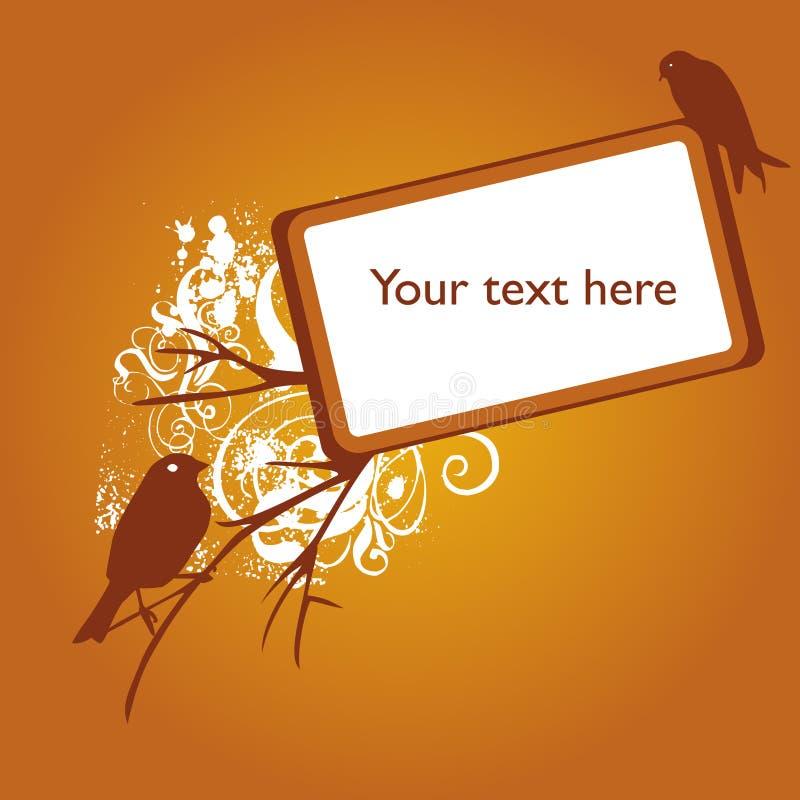Orange floral bird grunge background stock illustration