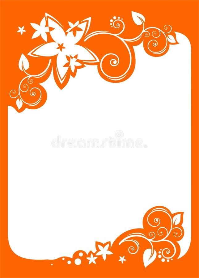 Orange floral border royalty free illustration
