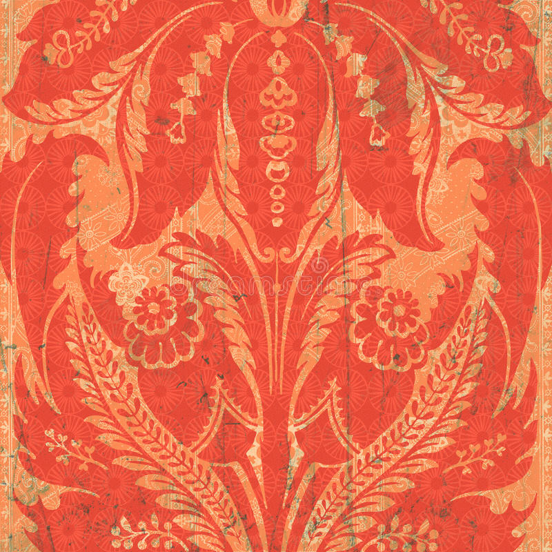 Orange floral damask. Graphics background with faint splashes of green throughout vector illustration