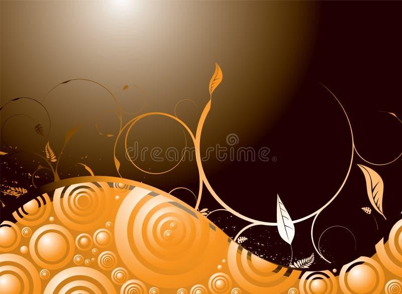 Orange floral swirl royalty free illustration