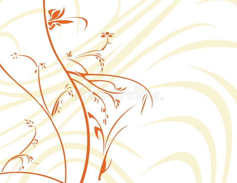Orange floral with white backg vector illustration